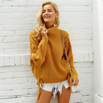 Simplee Side lace up women sweater Turtleneck batwing sleeve loose pullover 2018 Autumn winter casual jumper female