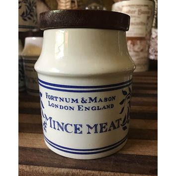 Fortnum & Mason Blue & White MINCE MEAT English Ironstone Advertising Canister