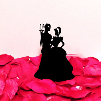 Dead Pool and Cinderella Embracing Wedding Cake Topper