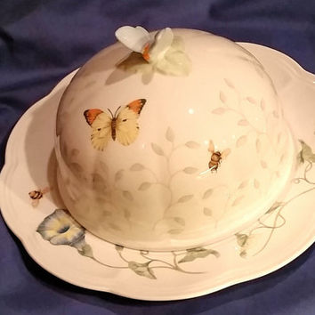 Lenox Vintage Butterfly Meadow by Louise Le Luyer Round Cheese/Butter Plate and Dome
