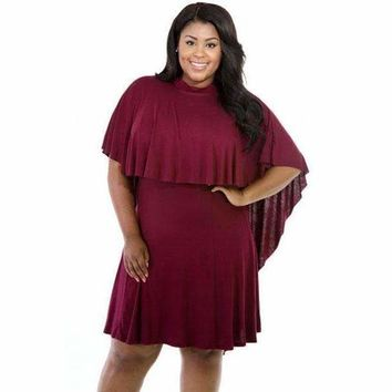 Big Girl Cape Overlay Wine Curvaceous Dress