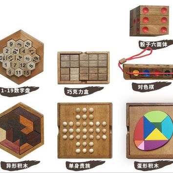 New Wooden IQ Puzzle Mind Brain Teaser 3D kids Kong Ming Lock Puzzles Educational Game Intellectual Toys for Adults Children