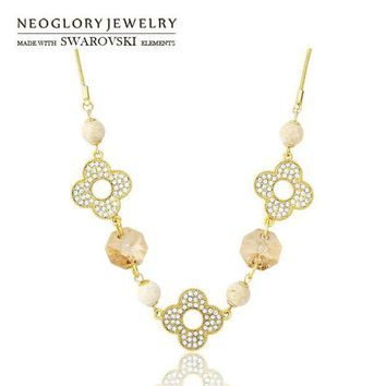 DCCKU62 Neoglory Austria Crystal & Rhinestone Long Pendant Necklace Nature Rammel Flower Design Fashion Gift Light Yellow Gold Color