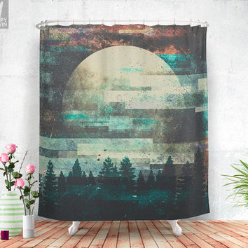 Children of the moon  - Shower curtain - Bathroom decor - Home decor - Boho - Moonchild - Moon - Wanderlust - Nature - Curtains - Unique.