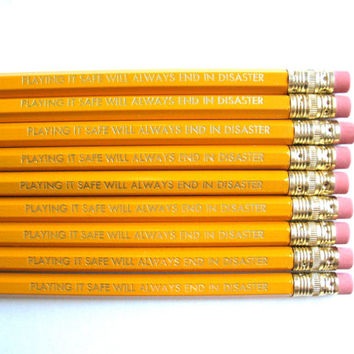 6 PENCILS - Banksy quote - playing it safe will always end in disaster GRAPHITE HEX back to school pencil set w/ kraft pencil box