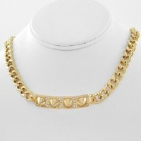 CELEBRITY Metal Spike BLING Iced Out HIP HOP ID Necklace in Goldtone for Men or Women by Jersey Bling