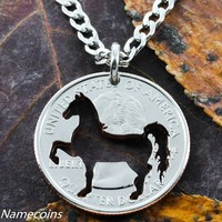 Horse necklace, Cowgirl jewelry, Prancing horse cut by hand in quarter