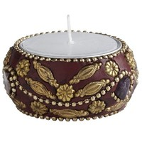 Red & Gold Beaded Tealight