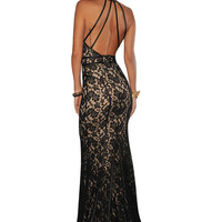 Black Strappy Halter Lace Nude Maxi Dress