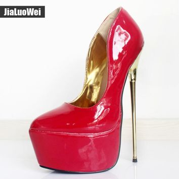 jialuowei 22CM Ultra High Heel 2017 New Women Pumps Luxury Quality Gold Metal Heel Platform Sexy Fetish Dance Party Shoes