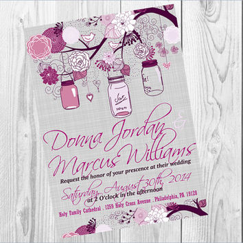 Hanging Mason Jar Wedding Invitation/Wedding Invitation/Purple and Gray Wedding/Rustic/Chic/DIY/Printable/Digital/Mason Jar/Flowers/Purple