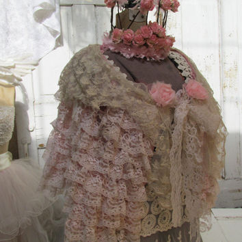 Tattered lace shawl pink, ivory, tea stained vintage gypsy cover up caplet tea stained shabby lace handmade by anita spero