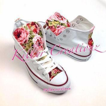 DCCK1IN custom floral high top converse made to order any size