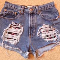 High Waisted shorts- tribal pattern patches