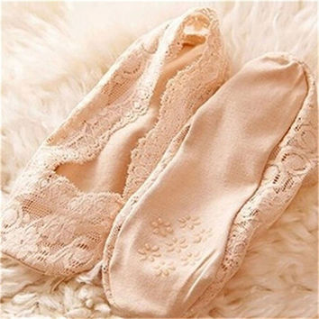 Shocking Show Fashion Women Summer Cotton Lace Antiskid Invisible Liner Low Cut Socks BE