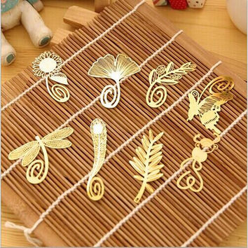 Mini Cute Kawaii Gold Metal Bookmark Paper Clip Antique Plated Butterfly Dragonfly Bookmarks Korean Statioenry Free shipping 807