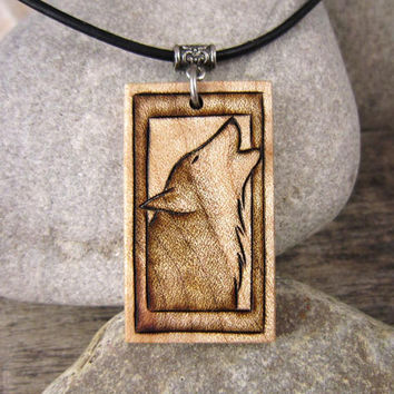 Howling Wolf Pendant Necklace, Hand Engraved Jewelry On Leather Cord, Maple Wood Pendant Howling Wolf Necklace