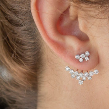 Snowflakes Ear Jacket, Cubic Zirconİa, 925 Sterling Silver, A pair.