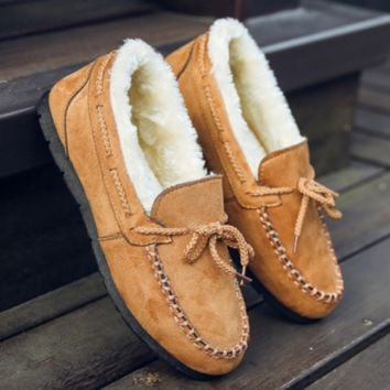 Warm thickening doug shoes with velvet flats lazy loafers Khaki
