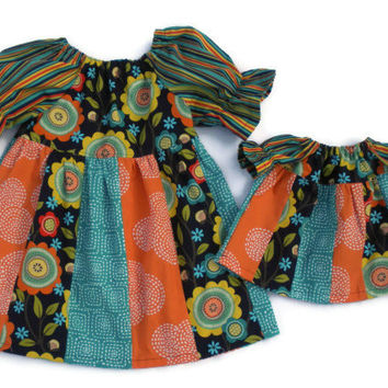 Stripwork Peasant Dress and Matching Doll Dress Size 2T