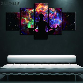 5 Piece Framed or Unframed Meditation In A Colorful Sky Oil on Canvas Wall Art - 2 Size Options