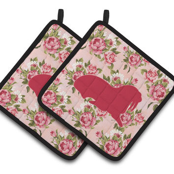 Walrus Shabby Chic Pink Roses  Pair of Pot Holders BB1017-RS-PK-PTHD