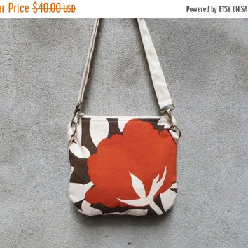 ON SALE Small Boho Chic Shoulder Bag, Eco-friendly Purse, Fall Fashion Bag, Woodland Inspired Print, Red White Brown Crossbody Bag, Zippe