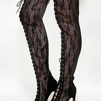 Olga-yh-1 Lace Thigh High Boots | MakeMeChic.COM
