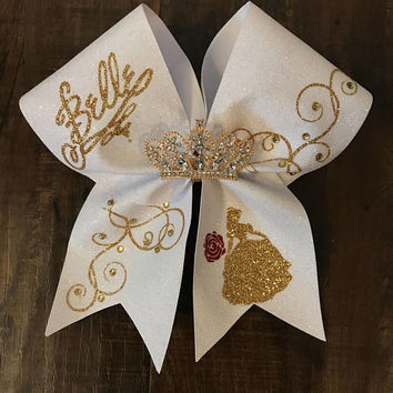 Belle inspired cheer bow with rhinestone accents and tiara - cheer bow - belle bow - belle - beauty and the beast - disney cheer bow