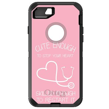 DistinctInk™ OtterBox Defender Series Case for Apple iPhone or Samsung Galaxy - Pink Nurse Stethoscope Heart