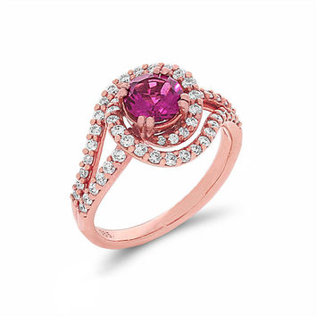 14k solid rose gold diamond and pink tourmaline engagement ring, promise ring, cocktail ring