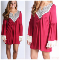 All The Bells & Whistles Burgundy Embroidered Detail Dress