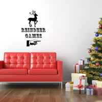Christmas Wall Decal Reindeer Games Retro Style Removable Vinyl Wall Decal 22469