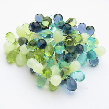 Czech Glass Drops 9x6 Beach Mix Dark Full Strand 25 Pieces