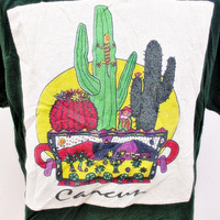 1990s Vintage T-Shirt XL Mexico Cactus Cartoon Indie Hipster