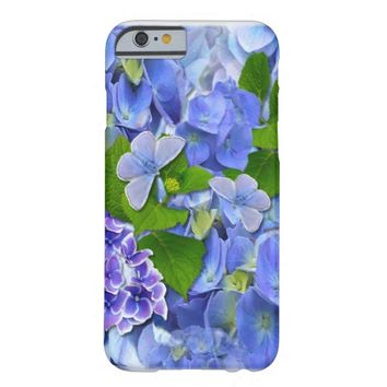Blue Hydrangeas and Butterflies Barely There iPhone 6 Case