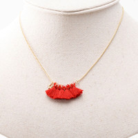 Red Tassel Bead Detail Cut Necklace