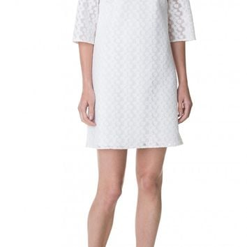 Tibi Floral Tech Off-the-Shoulder Shift Dress
