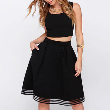 Black High Waist Mesh Stripe Hem Skirt