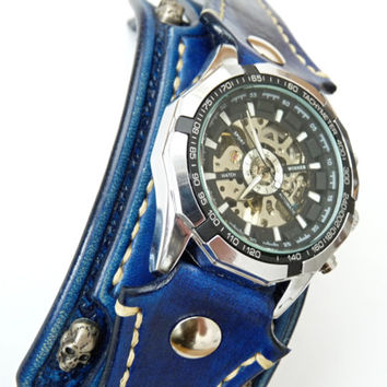 Leather Skull Watch, Gothic Watch, Bikers Jewelry, Blue Leather Watch, Mens Watch