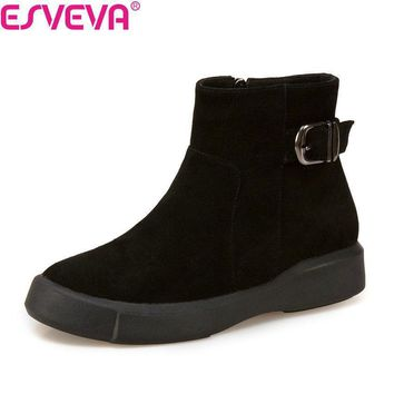 ESVEVA 2018 Cow Leather +Scrub Fashion Ankle Boots Zipper Western Black Women Shoes So
