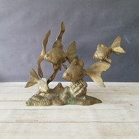Large Brass Goldfish Sculpture/ Brass Koi Fish/ Vintage Brass Sculpture/ Gold Fish/ Brass Fish/ Fish Art/ Fish Decor/ Beach Cottage Decor