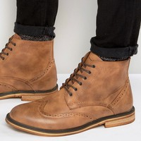 New Look Brogue Boots In Tan at asos.com