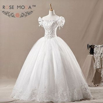 Off the Shoulder Princess Tulle Ball Gown Lace Corset Wedding Dress Vestidos de Noiva Real Photos