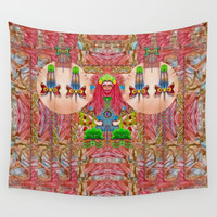 lady panda in the enchanted forest with magic flowers Wall Tapestry by Pepita Selles