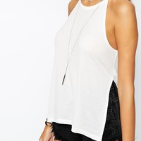ASOS PETITE Longline Top In Rib With Side Splits
