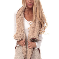Vanilla Waterfall Vest with Faux Fur