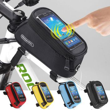 "Roswheel Bicycle Bag Touchscreen Bike Front Frame Bags Holder Pannier Waterproof Cycle 4.2"" 4.8"" 5.5"" Phone Pouch+Extension Line"