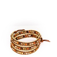 Wrap Bracelet Pumpkin Spice Crystals with Gold Chain