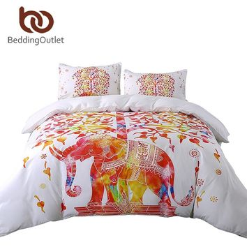 Bedding Set Elephant Boho Duvet Indian Cover and Pillowcase